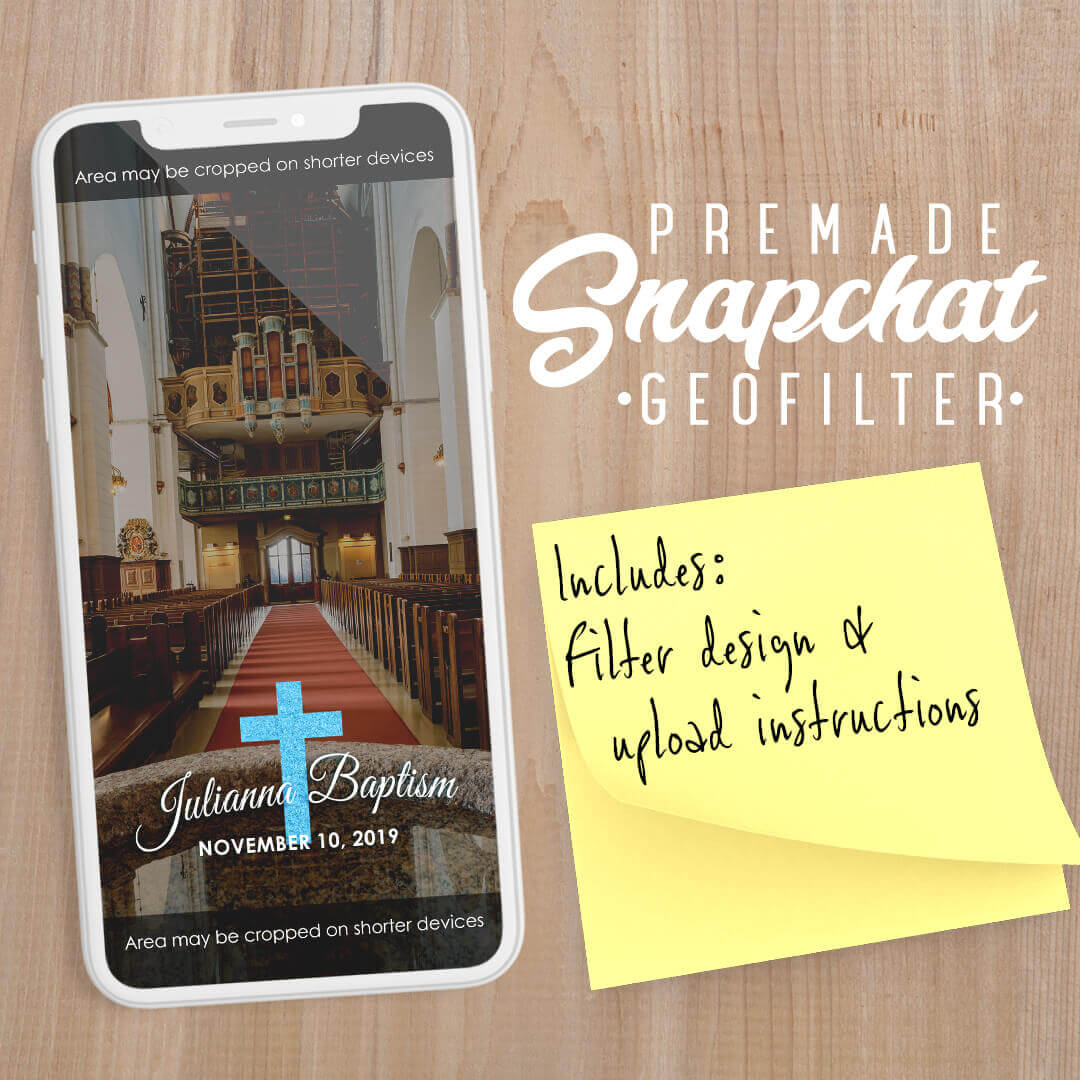 PREMADE Baptism Cross Snapchat Filter