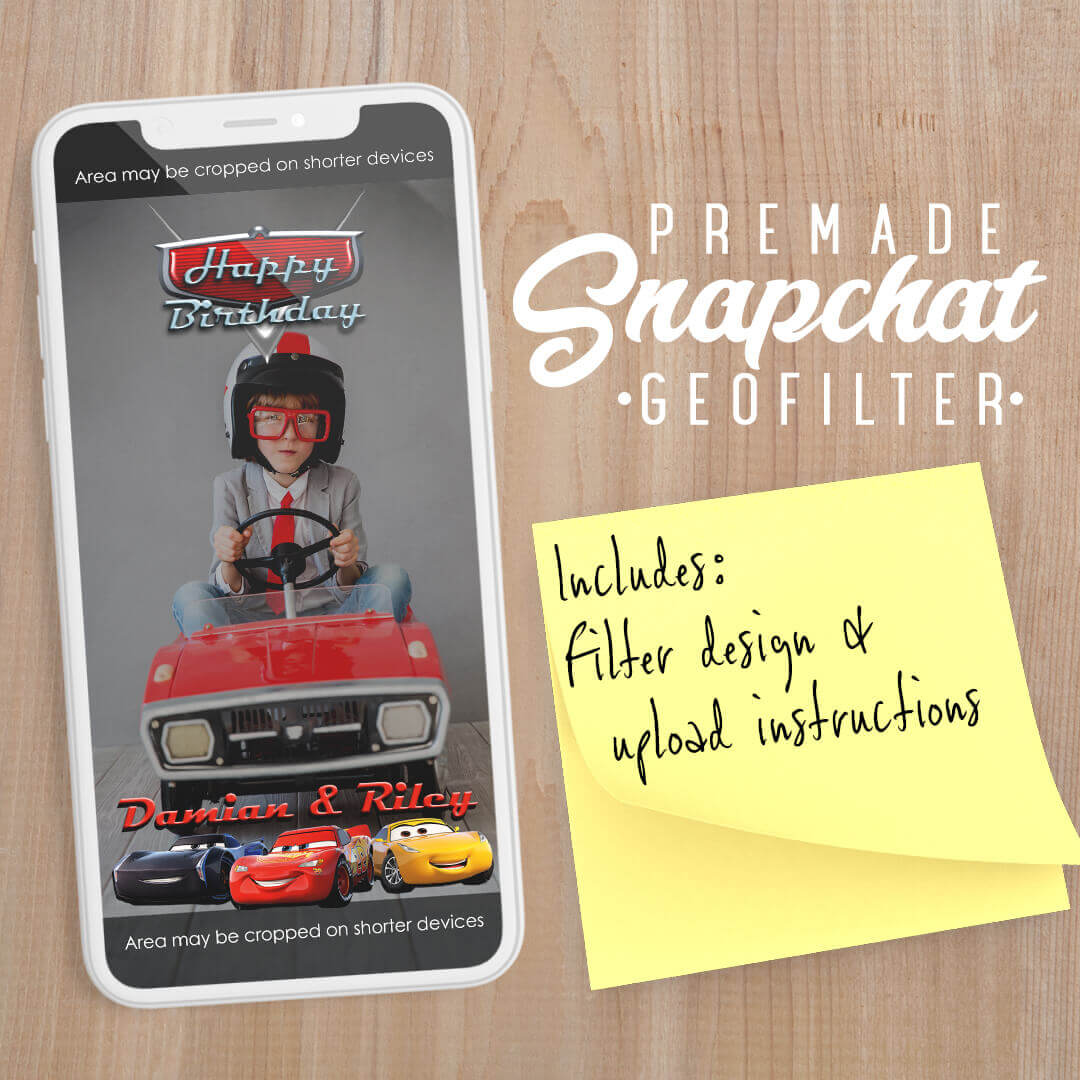 PREMADE Pixar Cars 3 Movie Snapchat Filter
