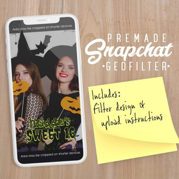 PREMADE Halloween Sweet 16 Snapchat Filter