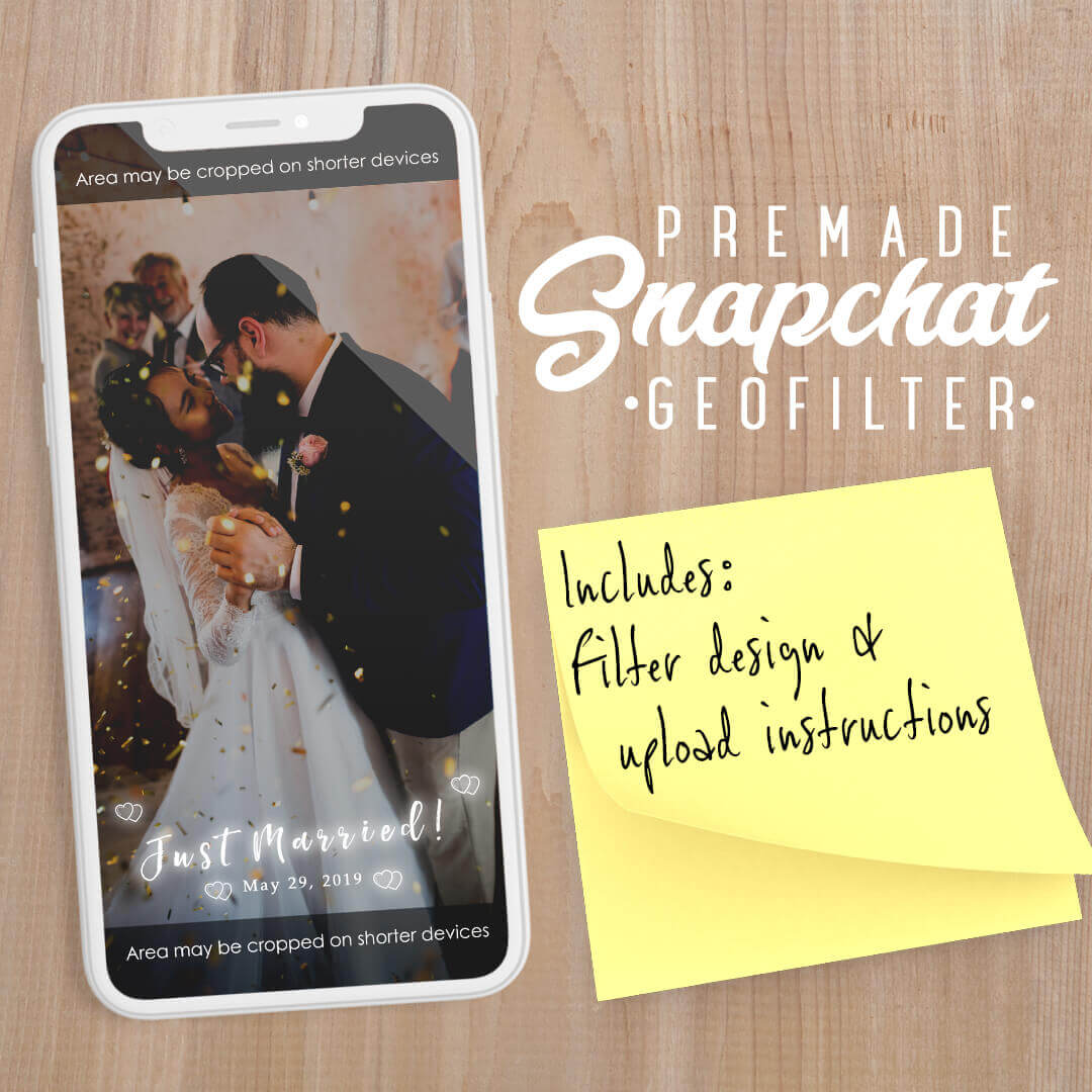 PREMADE Just Married White Glow Snapchat Filter