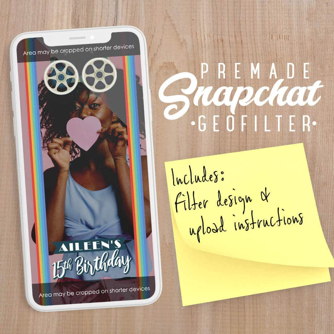 PREMADE Retro Film Theme Birthday Party Snapchat Filter