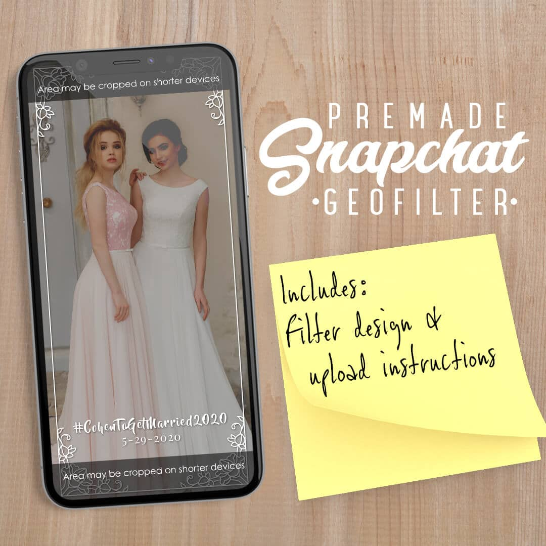 PREMADE Simple White Wedding Snapchat Filter