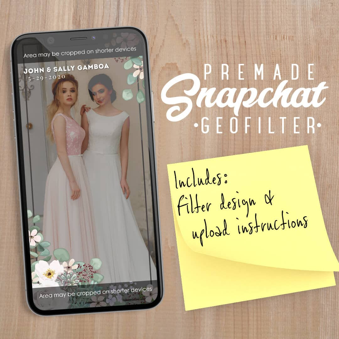 PREMADE Pastel Floral Wedding Snapchat Filter