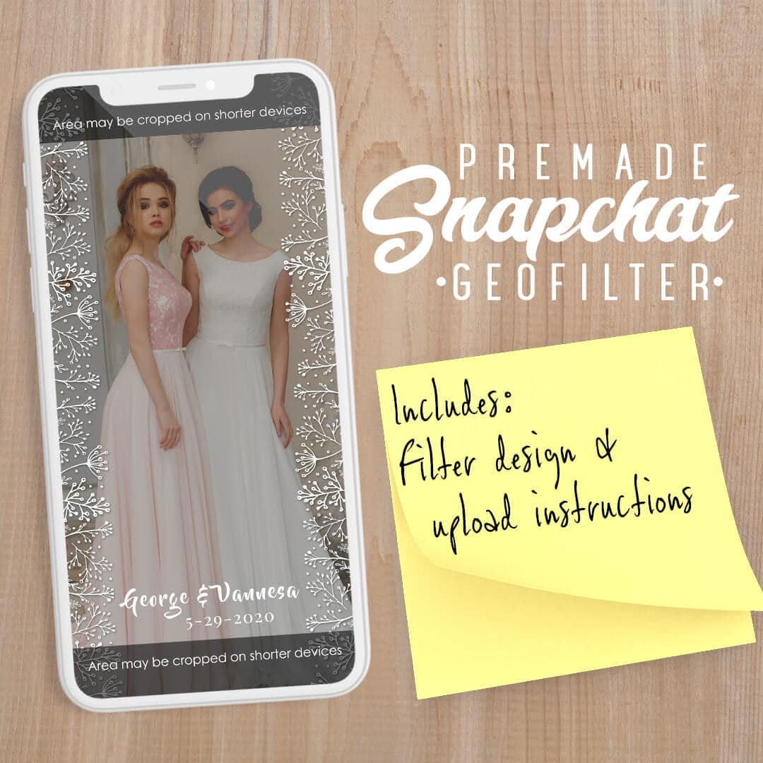PREMADE White Floral Wedding Snapchat Filter