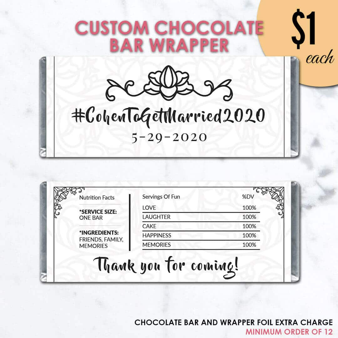 Simple Black & White Wedding Chocolate Bar Wrapper