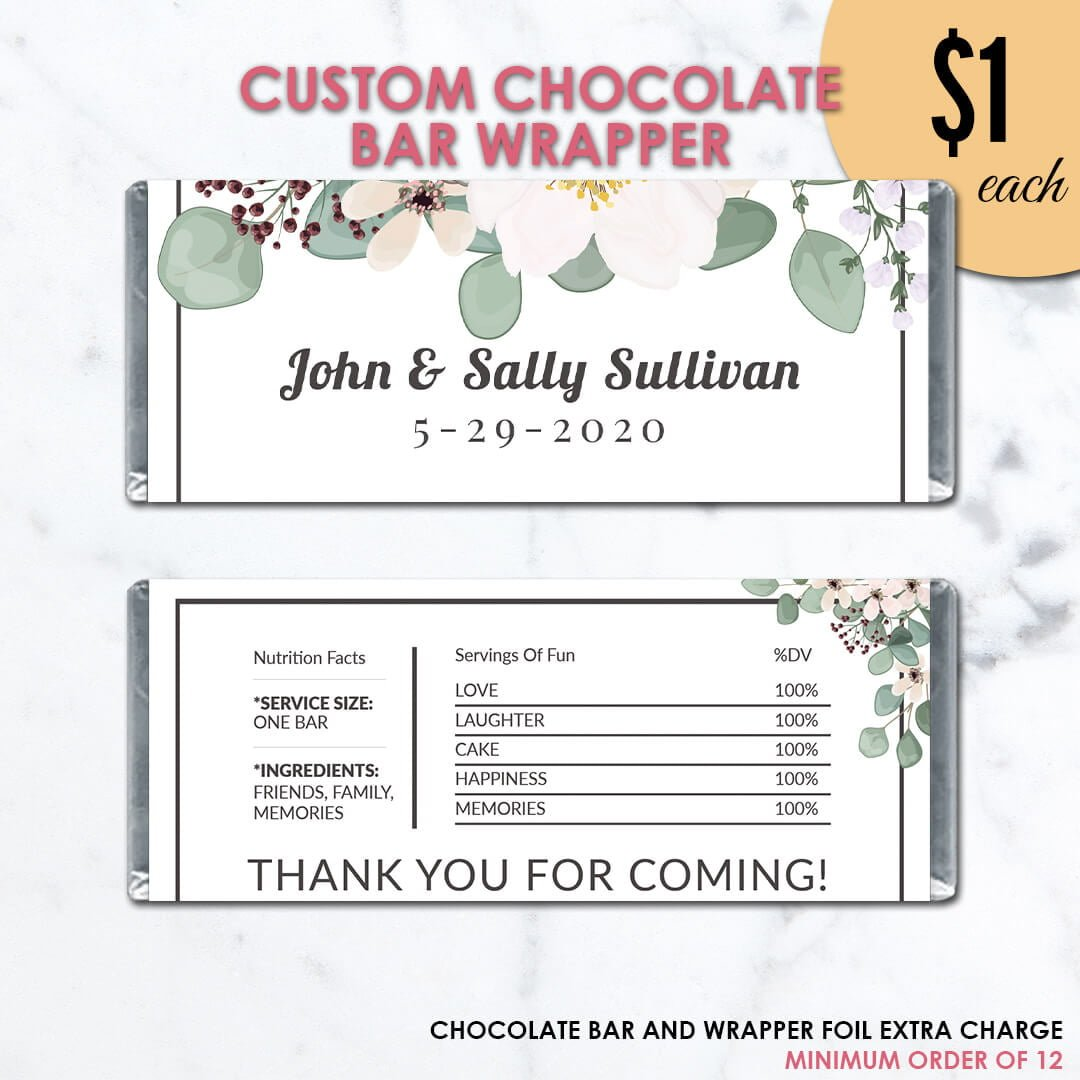 Rustic Wedding Chocolate Bar Wrapper