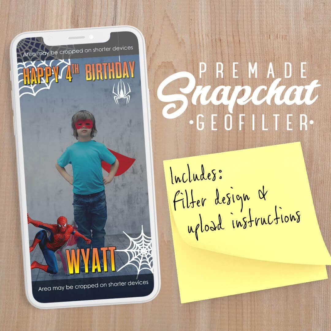 PREMADE Spider-man Theme Birthday Party Snapchat Filter