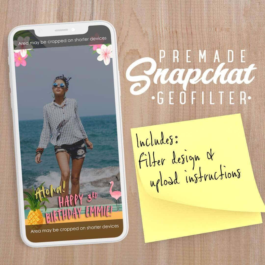 PREMADE Hawaiian Theme Birthday Party Snapchat Filter