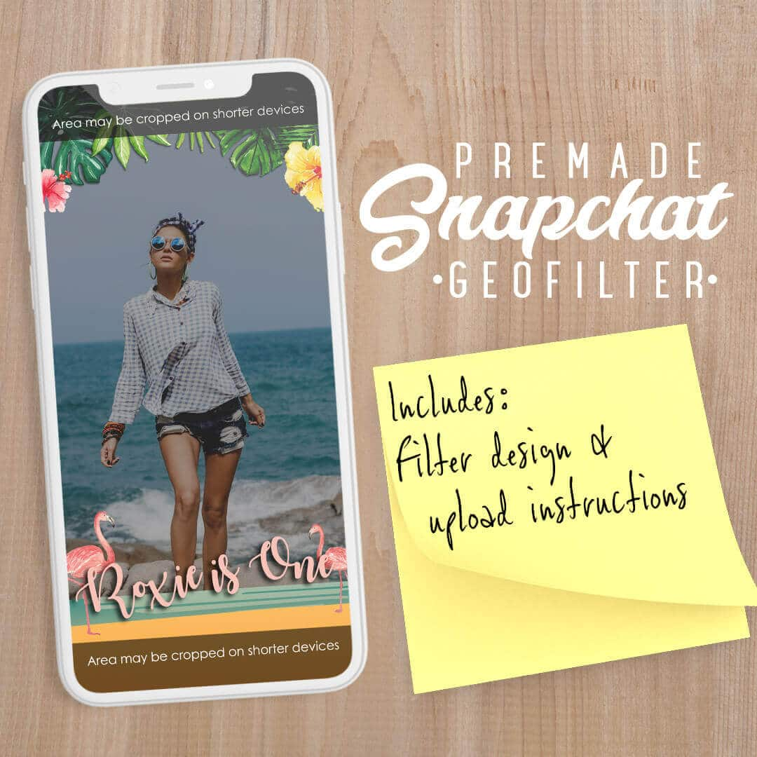 PREMADE Tropical Flamingo Theme Snapchat Filter