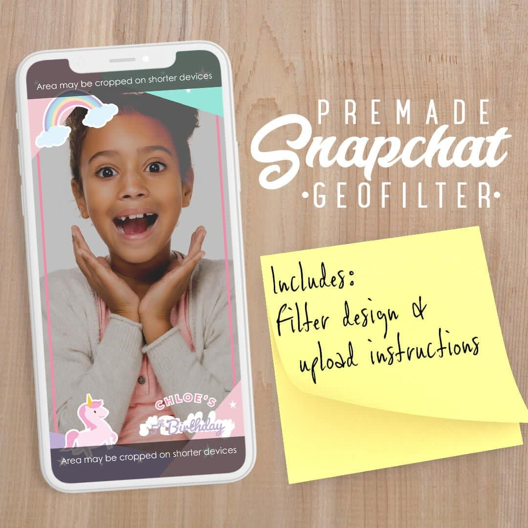 PREMADE Unicorn Birthday Snapchat Filter