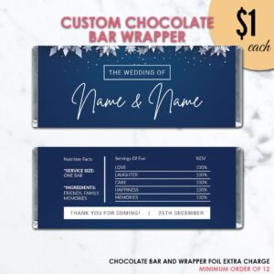 Navy Snowflake Wedding Chocolate Bar Wrapper